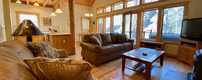 Three-Bedroom Riverside Cabin Living Room